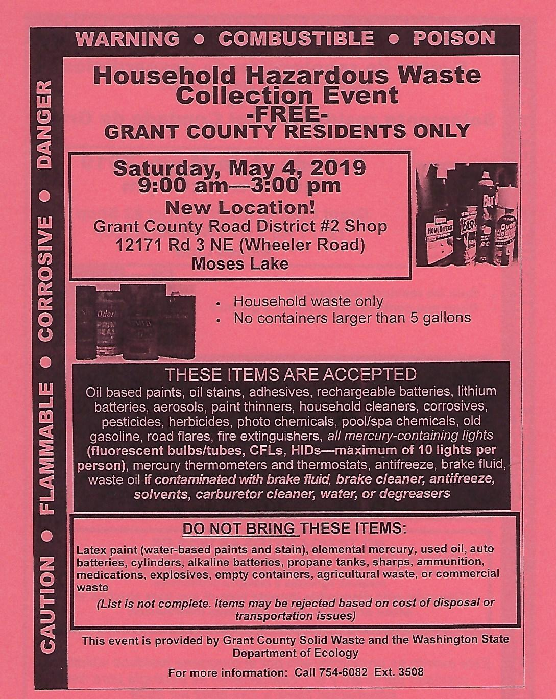 Hazardous Waste Collection Event May 4 – Town of Wilson Creek